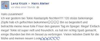Screenshot HairX Facebook